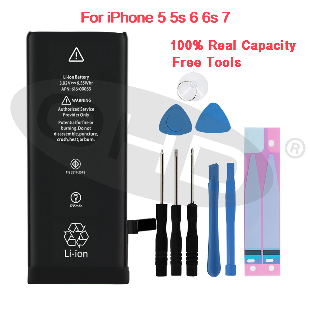 100% Mais Recente Bateria De Lítio Para Apple iphone 5 6S 6 7 5S Substituição Baterias Para iphone 5 5s 6 s Interna Do Telefone Móvel bateria