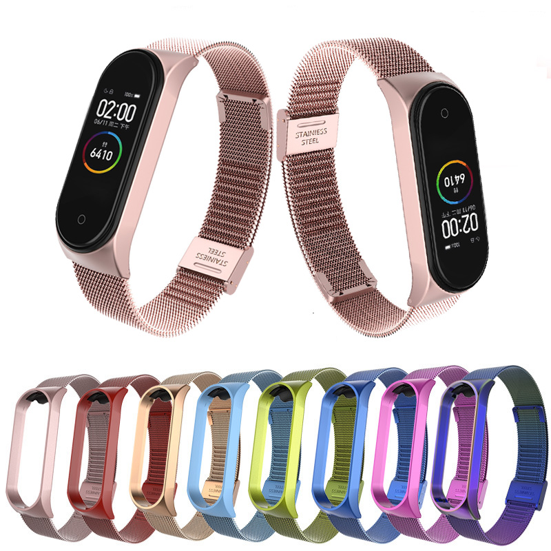 Metal Bracelet Watchstrap For Xiaomi Mi Band 3 4 Stainless Steel Smart Watch Strap For Mi Band 4 3 Wristbands Pulseira
