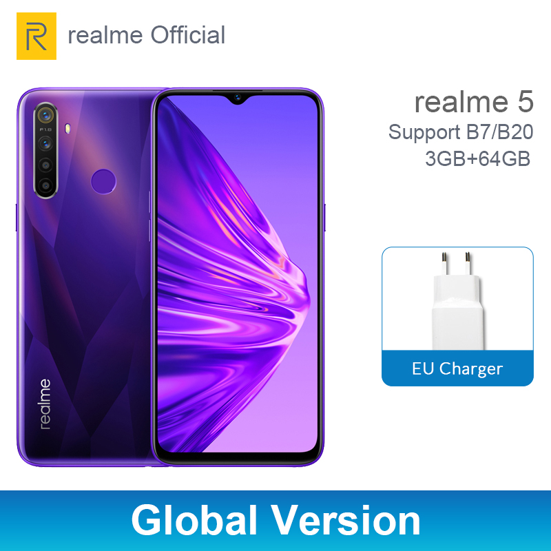 "realme 5 Global Version 3GB 64GB 6.5"" Moblie Phone Snapdragon 665 Octa Core 12MP Quad Camera Cellphone 5000mAh 10W Fast Charger"
