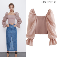 Za 1:1 Women Blouse with Slash Neck Puff Voile Long Sleeve S