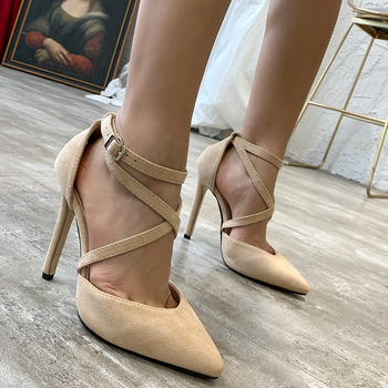 Fashion Cross-tie 12 CM Women Summer Pumps High Sandals Simple Lace-up Ankle Strappy Beige Office Lady Pumps Shoes Sexy Footwear image