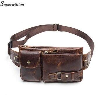 High Quality Vintage Men's Waist Pack Genuine Leather Male Money Belt Bag Shoulder Messenger Phone Bags Zipper Pocket Mobile Bag