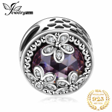 JewelryPalace 925 пробы серебряные бусины сверкающими ромашки кубического циркония Шарм Браслет Fit Браслеты Цветок Серебряные ювелирные изделия