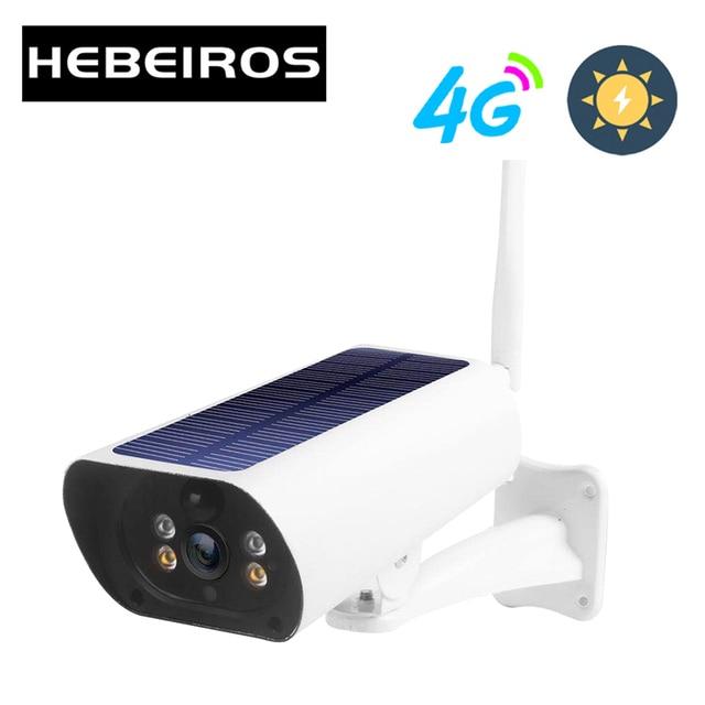 Hebeiros 4G LTE FDD GSM Solar Battery Wireless Camera 1080P Waterproof Outdoor Wifi Camera Security Surveillance CCTV IP Camera 1