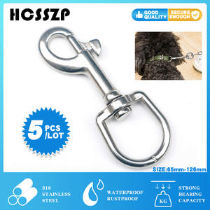 Carabiner Hook Pet-Chains Swivel-Eye-Bolt Spring Quick-Link Stainless-Steel Silver 5pcs