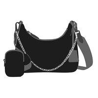 Bolsas de mensajero de hombro para mujer, bolso femenino de alta calidad con correa de cadena, cruzado de nailon, 2021