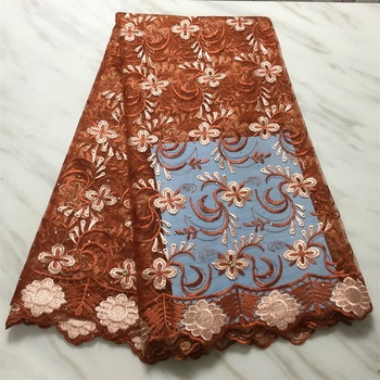 Wholesale African Tulle Lace Fabric High Quality 2020 French Net Lace Brown Embroidered Stone Nigerian Lace Fabric HLL4582