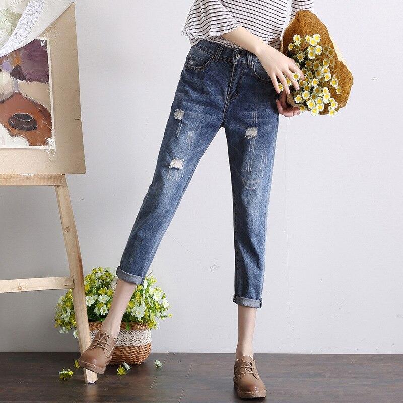 2019 весна осень зима новый стиль свободные и плюс размер d джинсы плюс размер d Женская одежда размер тонкий mi ng капри брюки Мода Yang mi C
