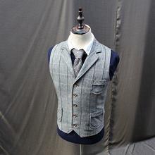 Винтажный Мужской твидовый шерстяной клетчатый жилет пальто