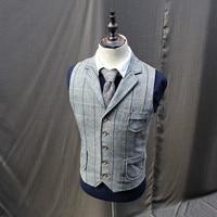 Vintage Mens Tweed Wool Blend Plaid Vests Coats Lapel Collar Waistcoats X2