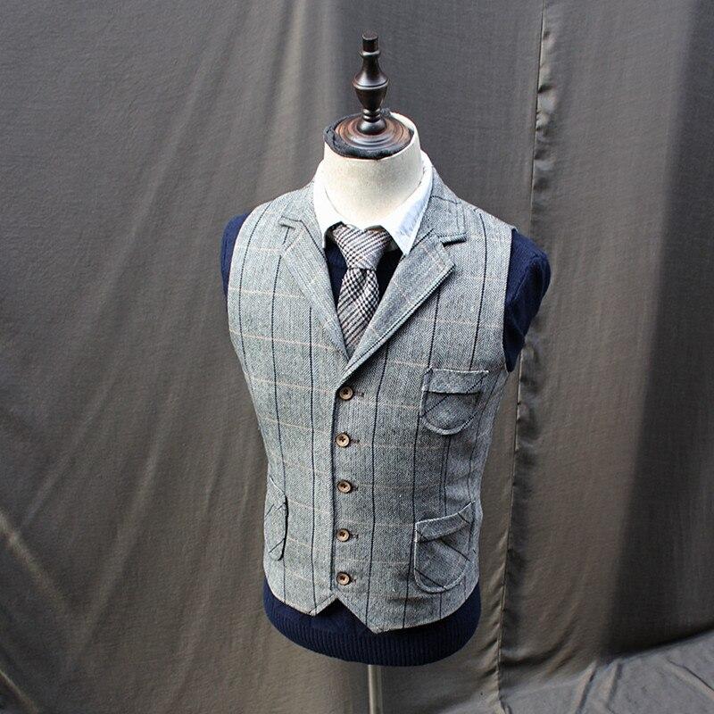 Vintage hommes Tweed laine mélange Plaid gilets manteaux revers col gilets X2