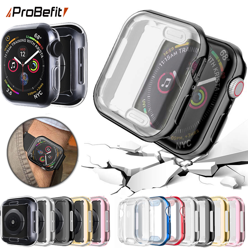 Probefit 360 magro assista capa para apple assista caso 5 4 3 2 1 42mm 38mm macio claro tpu protetor de tela para iwatch 4 3 44mm 40mm