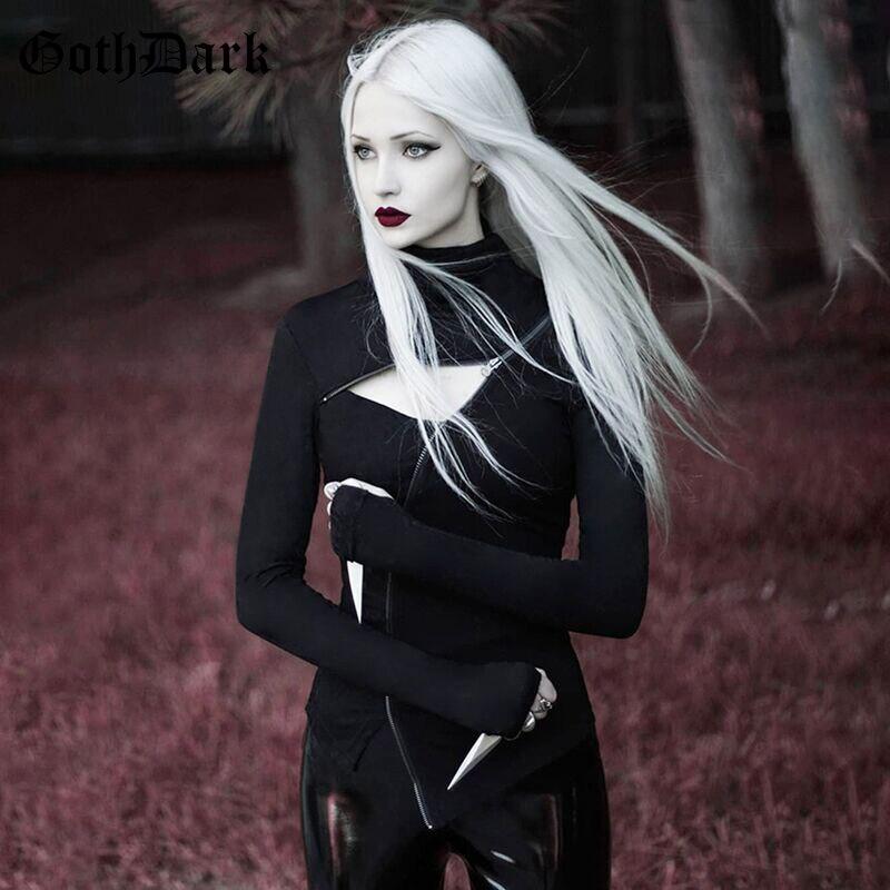 Goth Dark Black Patchwork Grunge Gothic Women's T-shirt Harajuku Vintage Aesthetic Hollow Out Fall 2019 Zipper Tshirt Longsleeve