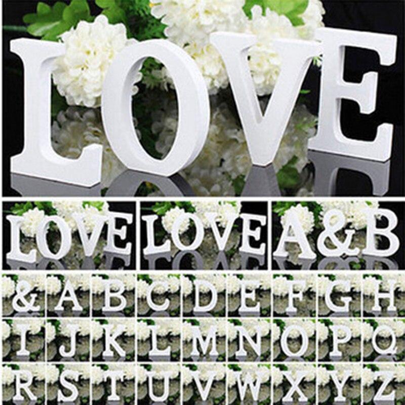 Letras blancas de madera alfabeto inglés DIY nombre personalizado diseño arte pie corazón boda decoración del hogar