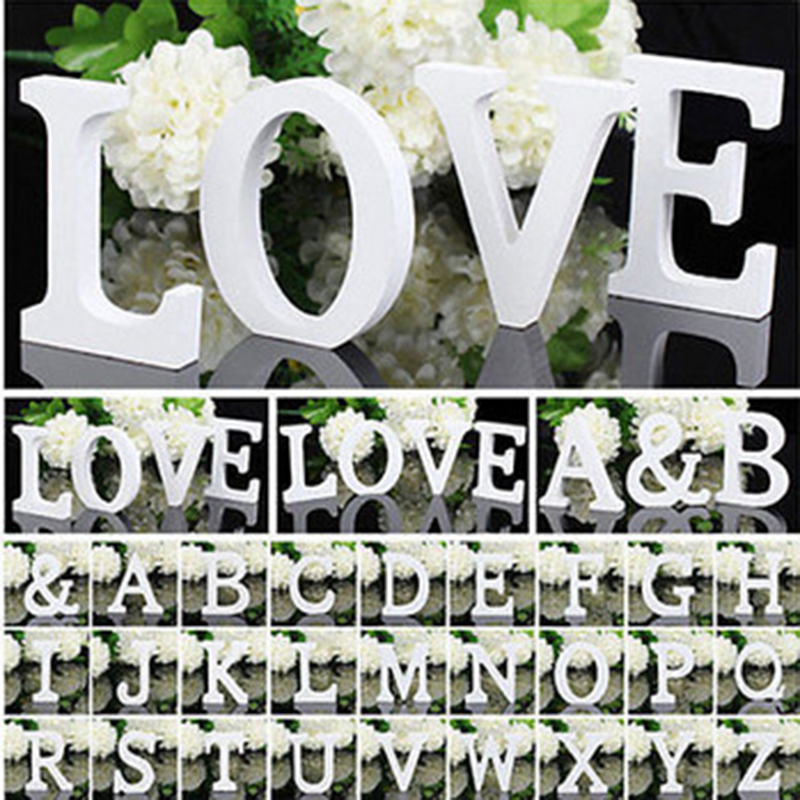 White Wooden Letter English Alphabet DIY Personalised Name Design Art Craft Free Standing Heart Wedding Home Decor