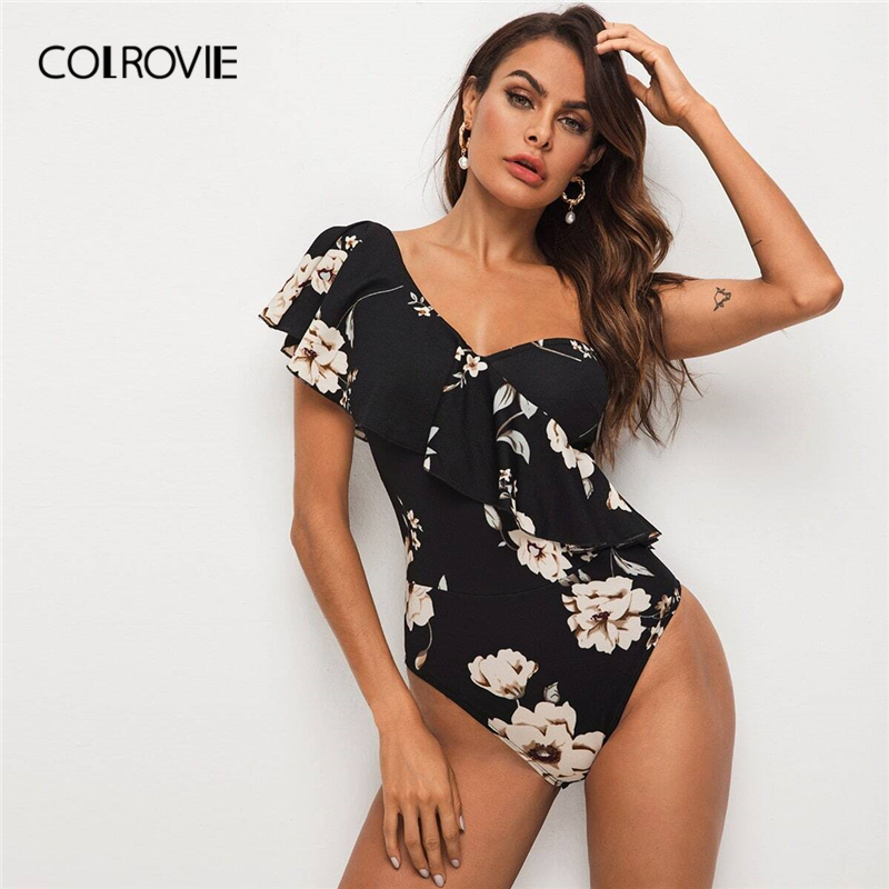 COLROVIE Black Flounce Foldover One Shoulder Floral Bodysuit Women 2020 Summer Elegant Ruffle Wrap Skinny Bodysuits