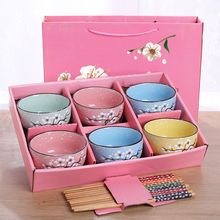 Classical Cherry Blossom Ceramic Bowl Set With Bamboo Chopstick Fruit Salad Rice Soup Ramen Water Tea Cup Kitchen Tableware