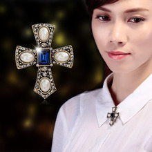 Vintage Court Brooch Pearl Crystal Rhinestone Cross Brooches Pins Broches Women Corsage Blouse Collar Lapel Pin Accessories Gift crystal sunflower brooches lapel pins for women corsage scarf dress decoration