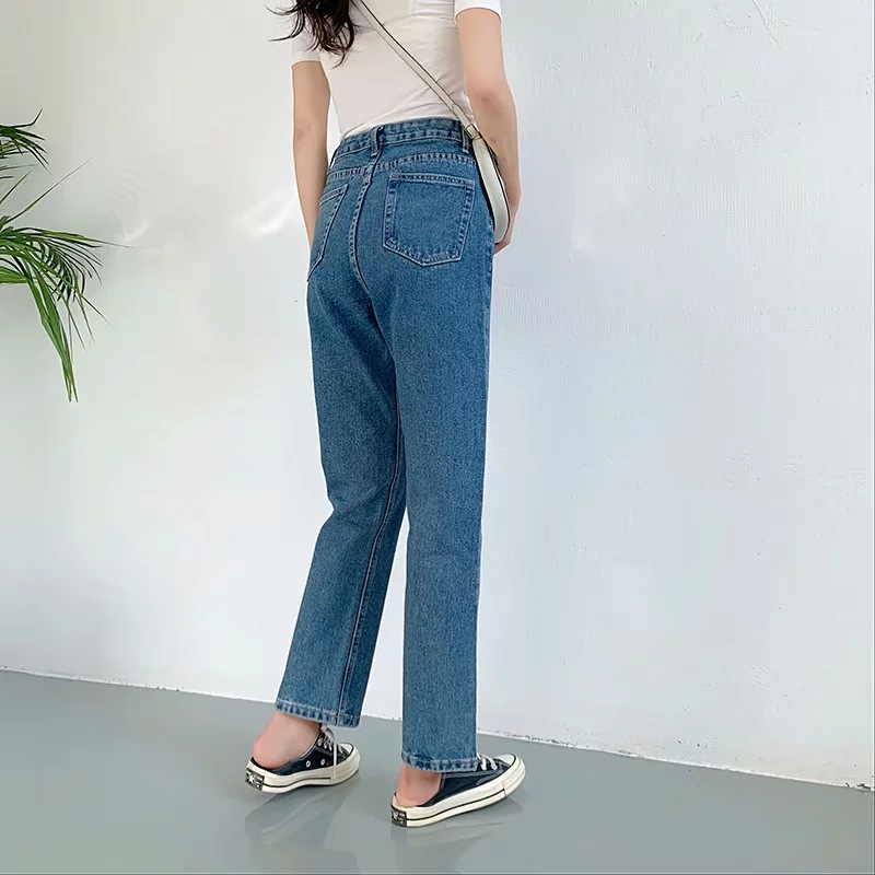 Jeans Women's 2019 Autumn And Winter New Style Retro Classic Style High-waisted Slimming Straight-leg Pants Jeans