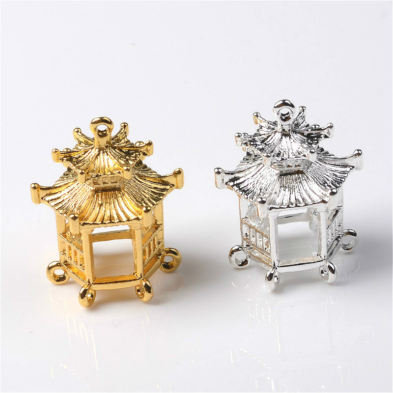 5PCS 24.5*30mm Fashion Metal Alloy Gold/Silver Color Small Pavilion Pendant Connectors Charm For Jewelry Making