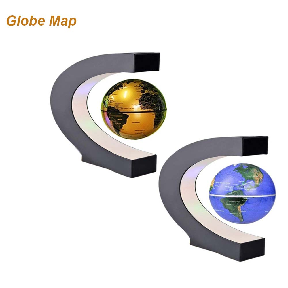 US/EU Plug C Shape LED World Map Decor Home Electronic Magnetic Levitation Floating Globe Antigravity LED Light Gift Decoration
