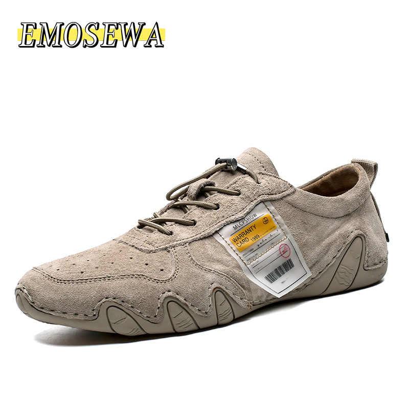 EMOSEWA mocasines de cuero de ante de verano para Hombre Zapatos casuales de marca de lujo para Hombre Zapatos deslizantes en barco para hombres mocasines Chaussure