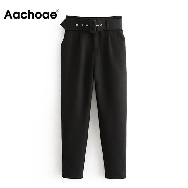 Office Lady Black Suit Pants with Belt Women High Waist Solid Long Trousers Fashion Pockets Pants Trousers Pantalones 1