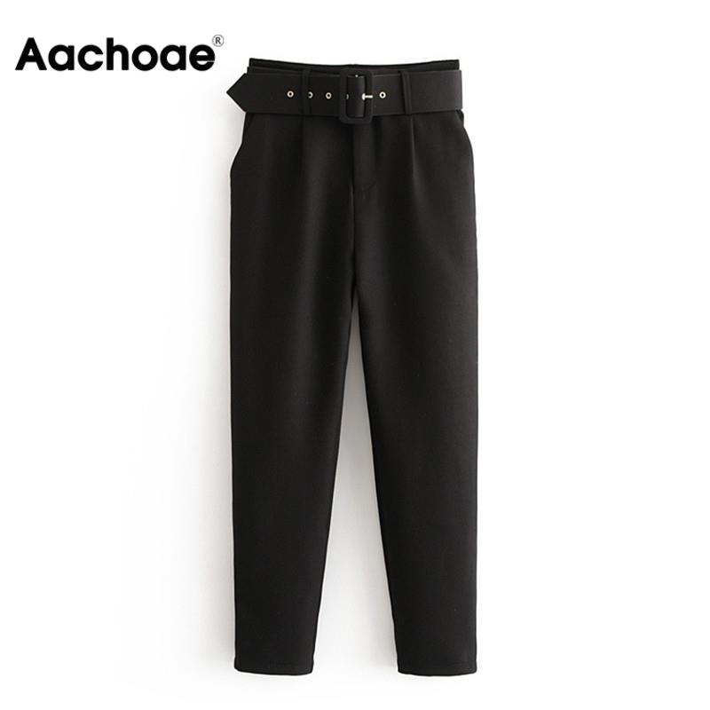 Aachoae Office Lady Black Suit Pants with Belt Women High Waist Solid Long Trousers Fashion Pockets Pants Trousers Pantalones(China)