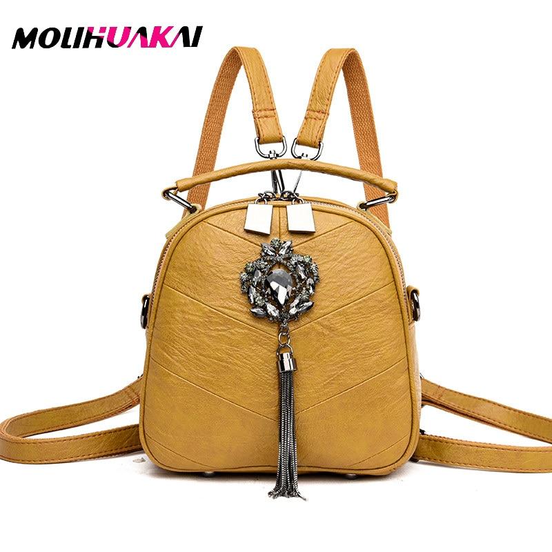 2020 NEW 3-in-1 Women Real Leather Backpacks High Quality Sac A Dos Mini Backpacks For Girls Back Pack Female Mochilas Bagpack