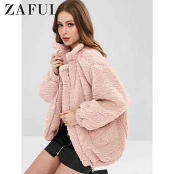 ZAFUL Slip Pockets Faux Fur Teddy Coat Zip Up Slip Pockets Faux Fur Coat Stand-Up Collar Solid Long Fluffy Coats Winter Warm фото