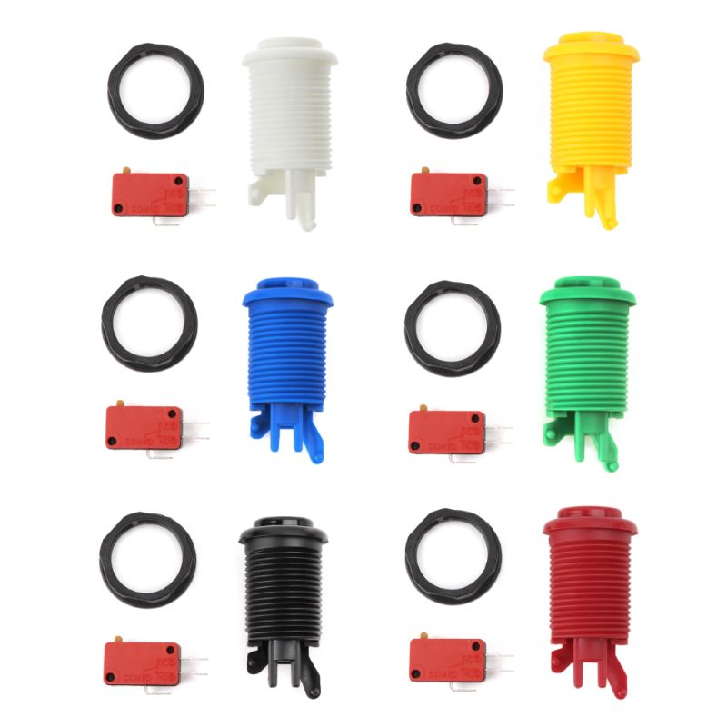 28mm Round Arcade Push Button American Style Three Foot Micro Switch for MAME Jamma