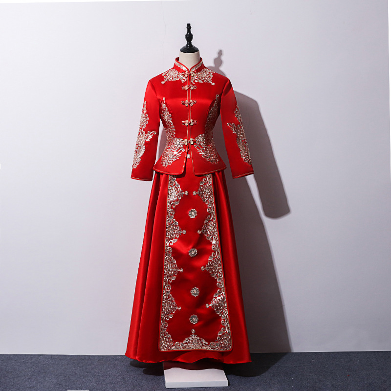 New Red Traditional Chinese Wedding Dress Qipao National Costume Womens Overseas Chinese Style Bride Embroidery Cheongsam S-XXL