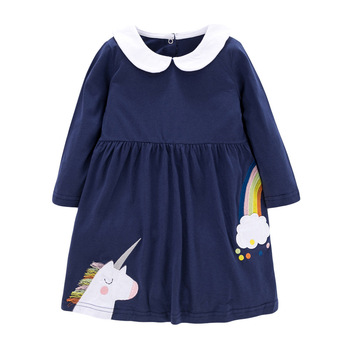 1-7 Years Floral Cotton Dress for Kids Baby Girl  Long-sleeved Doll Collar Clothes for Toddler Girl  for Autumn and Spring  2020 - Color 10, 2T
