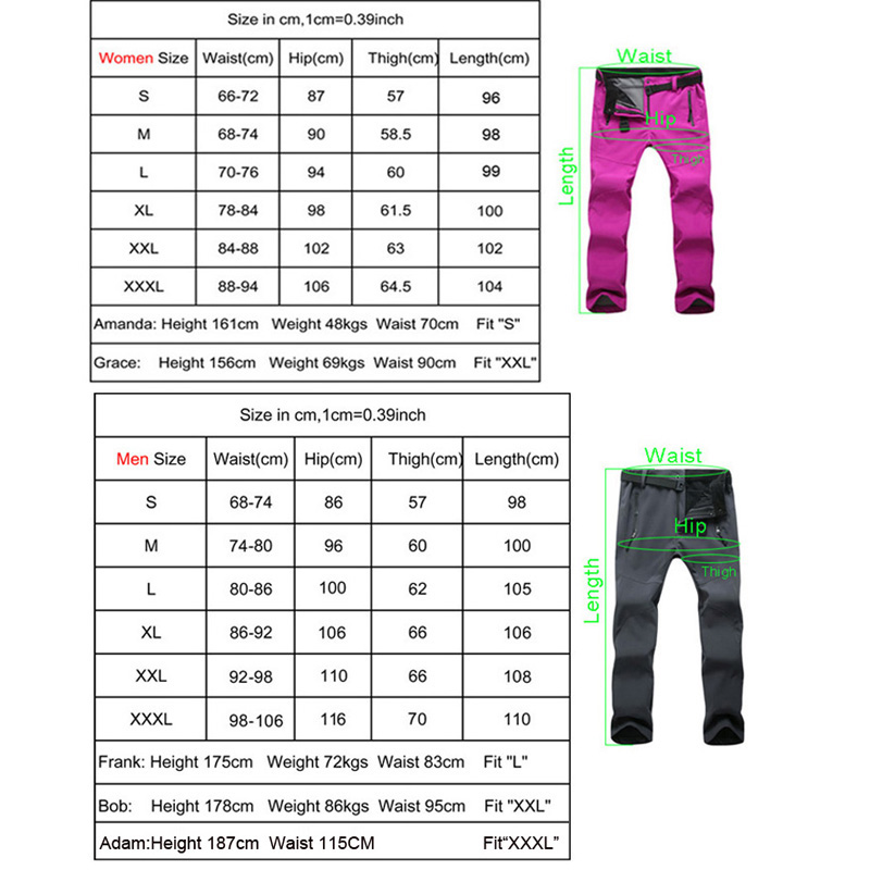 Image 5 - 2019 winter Fleece Hiking Pants Men&Women Outdoodr Warm Softshell Waterproof pants Thermal Camping Skiing Trekking Climbing pant-in Hiking Pants from Sports & Entertainment