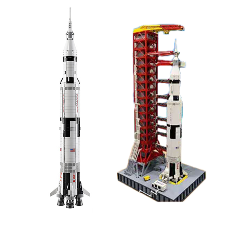 37003 Creative Series 1969Pcs The Apollo Saturn V Launch Vehicle With Launcher Building Blocks Bricks Educational Toy 21309