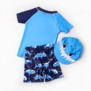 Image 2 - Erkek mayo UPF50 üç adet yenidoğan mayo köpekbalığı baskı bebek bebek banyo kıyafetleri mayo için çocuk havuzu plaj kıyafeti