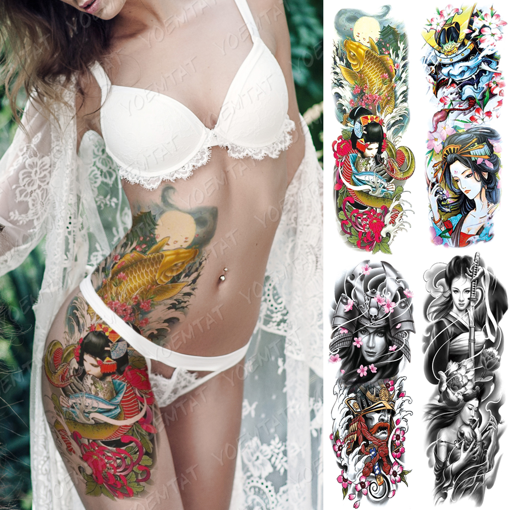 Large Arm Sleeve Tattoo Japanese Geisha Waterproof Temporary Tatto Sticker Samurai Waist Leg Body Art Full Fake Tatoo Women Men