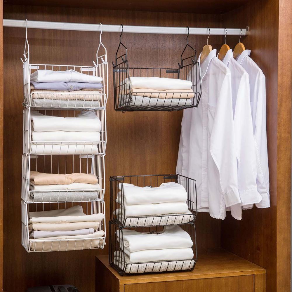 Bedroom Shelf Closet Organizer Storage Shelf Underwear Bra Clothes Storage Rack Wardrobe Hanging Basket Cabinet Iron Shelves