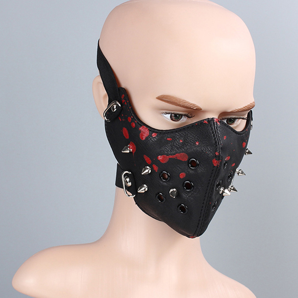 SAGACE Mask Women Solid Punk Rock Black Unisex Motorcycle Punk Hallowin Mask Cosplay Style Metal Rivet Gift Party Leather Mask