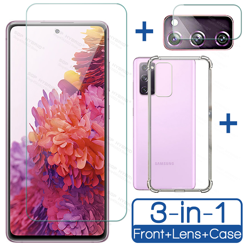 Transparent Clear TPU Silicone Case For Samsung Galaxy S20 FE Tempered Glass on For Galaxy S20FE Camera Protection Film Shield