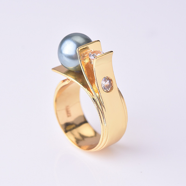 Female Plated S925 Silver Gold Green Pearl Pearl Zircon Ring For Women Engagement Wedding Party