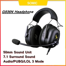 SOMIC G936N Gamer Earphones 7.1 Virtual Gaming Headsets Surround Sound USB 3.5mm Noise Cancelling Headphones  for PS4 PC Games