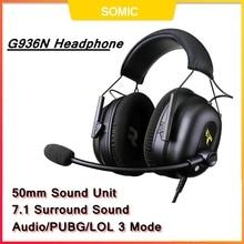 SOMIC G936N Gamer Kopfhörer 7,1 Virtual Gaming Headsets Surround Sound USB 3,5mm Noise Cancelling Kopfhörer für PS4 PC Spiele