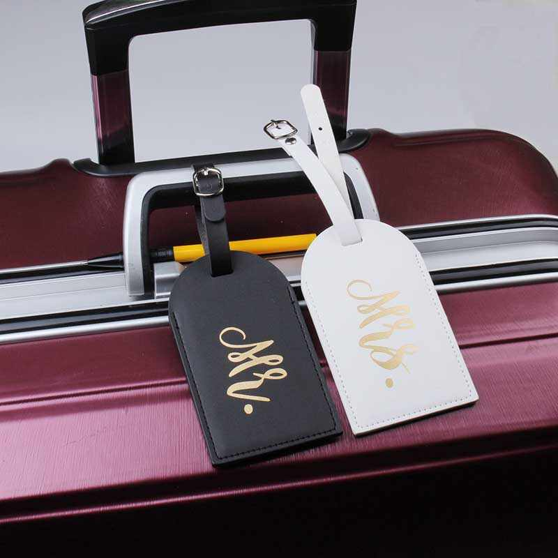 Mr & Mrs etiqueta para equipaje, Valijas bolsa colgante accesorios de viaje Nombre Dirección de identificación Etiqueta de invitación VIP personalizada LT335