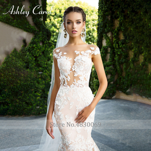 Image 3 - Ashley Carol Invisible Neckline Mermaid Wedding Dresses 2020 Sexy Backless Bride Dress Romantic Lace Appliques Wedding Gowns