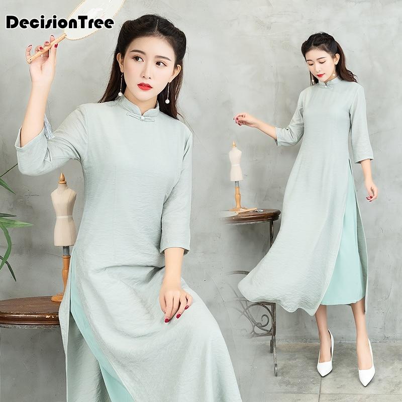 2019 Vintage Casual Retro Cheongsam Ao Dai Vietnam Ao Dai Dress Cheongsam Modern Mandarin Collar Evening Dresses Qipao Modern
