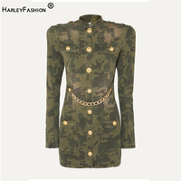 HarleyFashion New Season Women Fall Spring Fitted Classic Design Camouflage Chain Dress Gold Buttons Slim Straight Dresses