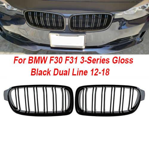 Wysokiej jakości przednia kratka w kształcie nerki dla BMW F30 F31 serii czarny błyszczący podwójna linia 12-18