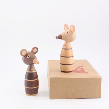 Wooden ornaments couple mouse creative home decoration porch puppet coffee shop decorative arts and crafts gift 1