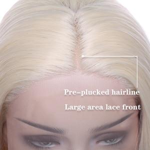 Image 3 - SNOILITE short ombre bob u part lace front wig Synthetic free lace part 12.5*3 lace front wig Bob wavy hair wigs for women